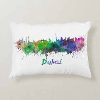 Dubai skyline in watercolor accent pillow