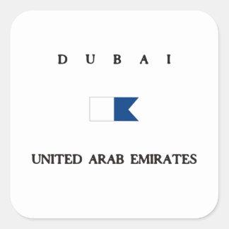 Dubai United Arab Emirates Alpha Dive Flag Square Sticker