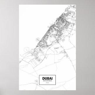 Dubai United Arab Emirates black on white Posters