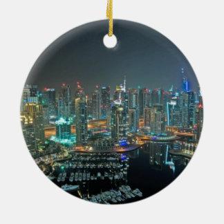 Dubai, United Arab Emirates skyline at night Double-Sided Ceramic Round Christmas Ornament