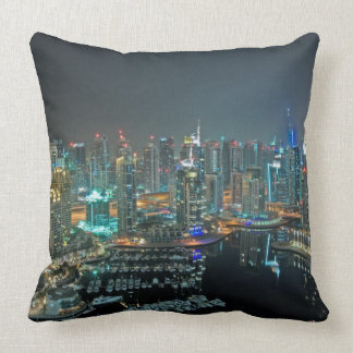 Dubai, United Arab Emirates skyline at night Pillow