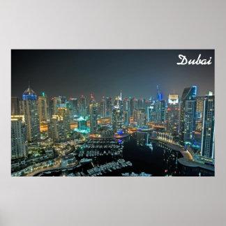 Dubai, United Arab Emirates skyline at night Poster