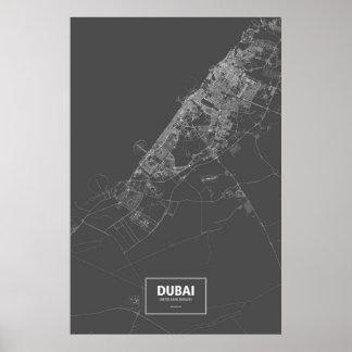 Dubai United Arab Emirates white on black Poster