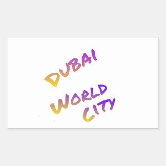 Dubai world city letter art color rectangular sticker