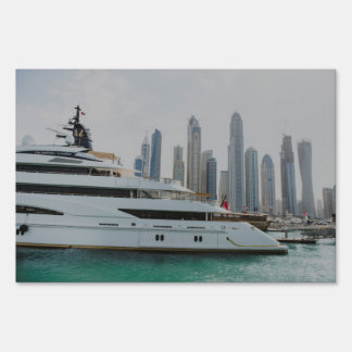 Dubai yacht and skyscrapers yard sign