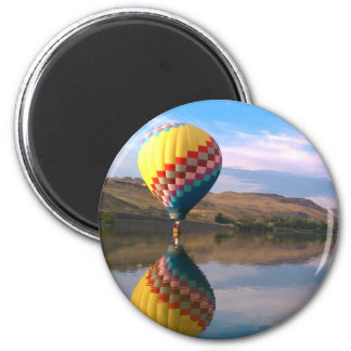 Dubble RAINBOW.  Hotair balloon on the snake river 2 Inch Round Magnet