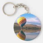 Dubble RAINBOW.  Hotair balloon on the snake river Basic Round Button Keychain