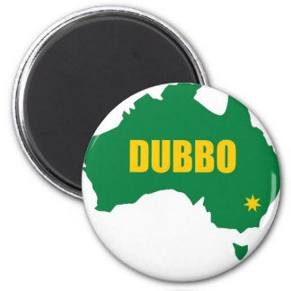 Dubbo Green and Gold Map 2 Inch Round Magnet