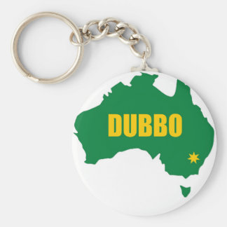 Dubbo Green and Gold Map Basic Round Button Keychain