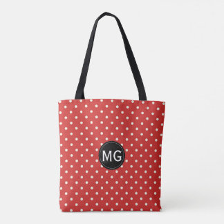 Duble Sided Red White Black Monogrammed Polka Dots Tote Bag