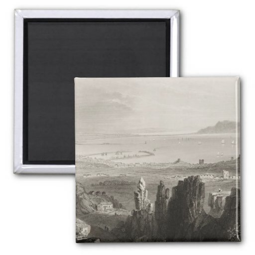 Dublin Bay from Kingstown Quarries 2 Inch Square Magnet