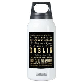Dublin City of Ireland Typography Art Thermos Bottle