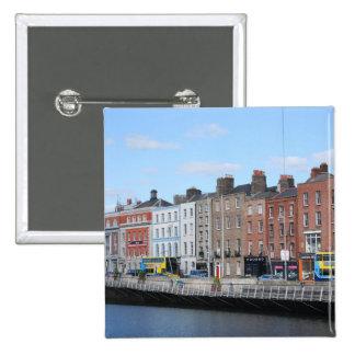 Dublin City on The Liffey Pinback Buttons