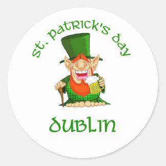~ Dublín del día de St Patrick Pegatina Redonda