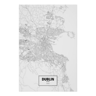 Dublin, Ireland (black on white) Poster