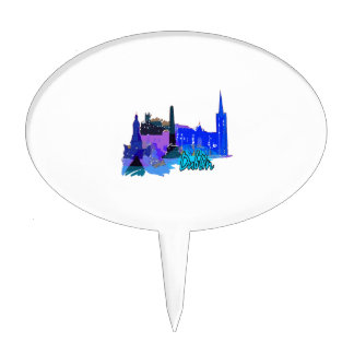 dublin ireland blue city graphic.png cake topper