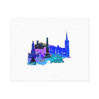 dublin ireland blue city graphic.png canvas print