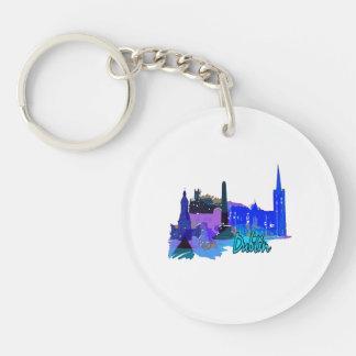 dublin ireland blue city graphic.png acrylic key chain