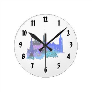 dublin ireland blue city graphic.png round clock