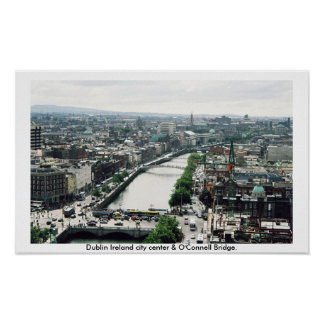 Dublin Ireland city center skyline Poster