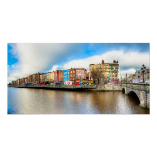 Dublin Ireland Liffey Panorama - 12x24 Archival Poster