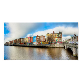 Dublin Ireland Liffey Panorama - 8x16 Archival Poster