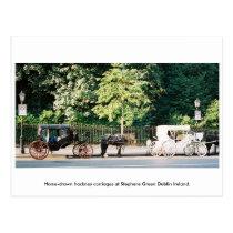 Dublin Ireland, Stephens Green Horse carriages Postcard