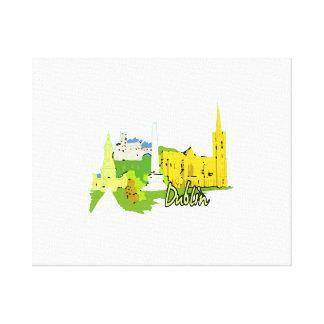 dublin ireland watercolour city graphic.png canvas print
