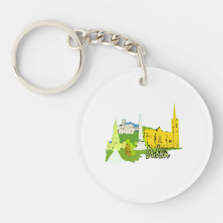 dublin ireland watercolour city graphic.png keychains