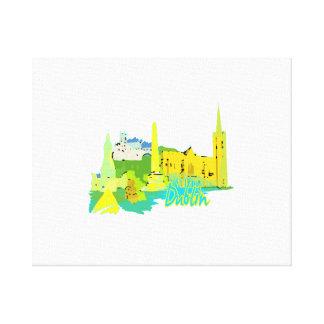 dublin ireland yellow city graphic.png canvas print