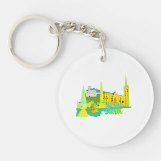 dublin ireland yellow city graphic.png key chains
