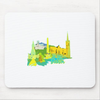 dublin ireland yellow city graphic.png mousepad