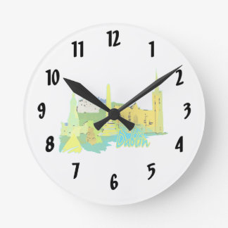 dublin ireland yellow city graphic.png round clock