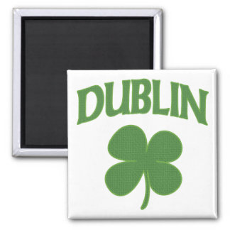 Dublin Irish Shamrock 2 Inch Square Magnet