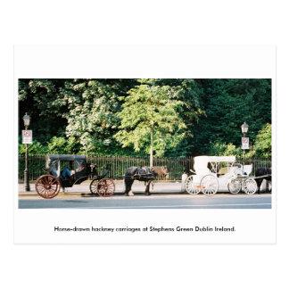 Dublín Irlanda, carros verdes del caballo de Tarjetas Postales