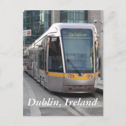 Dublin Luas Silver Tram Yellow Stripe Postcard postcard