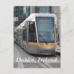 Dublin Luas Silver Tram Yellow Stripe Postcard