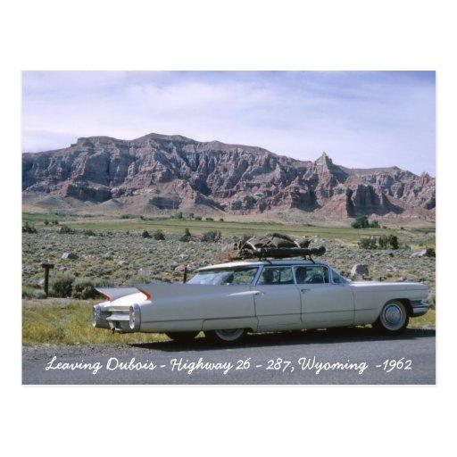 Dubois Wyoming Antique White Cadillac Postcard