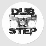 Dubstep Black Boombox Round Stickers
