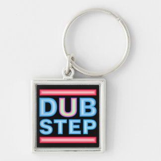 DUBSTEP Neon Silver-Colored Square Keychain