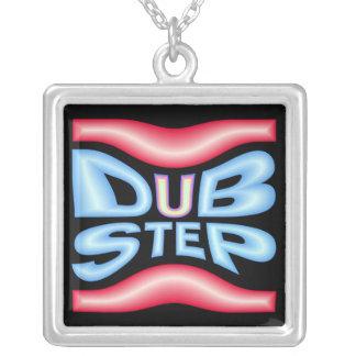 DUBSTEP Neon Warp Square Pendant Necklace