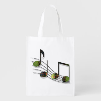 Dubstep Notes Reusable Grocery Bag