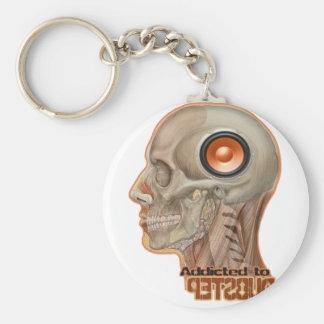 Dubstep woofer brain basic round button keychain