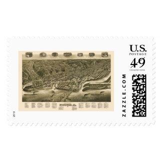 Dubuque, Iowa Panoramic Map - 1889 Postage