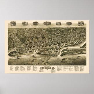 Dubuque, mapa panorámico de Iowa - 1889 Póster