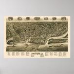 Dubuque, mapa panorámico de Iowa - 1889 Posters