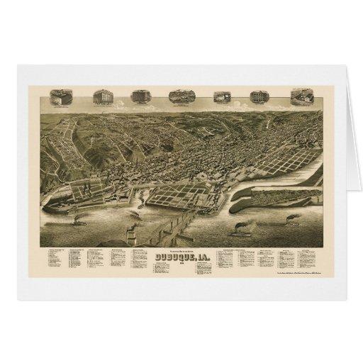 Dubuque, mapa panorámico de Iowa - 1889 Felicitacion