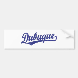 Dubuque script logo in blue bumper sticker