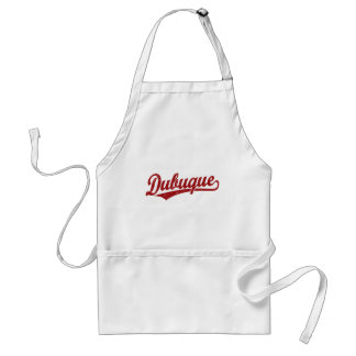 Dubuque script logo in red adult apron