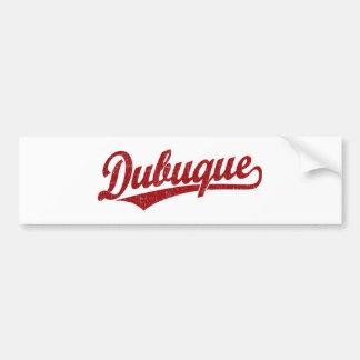 Dubuque script logo in red bumper sticker